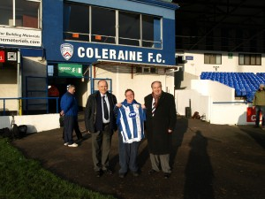Supporter of the Year Robert received a signed Coleraine shirt