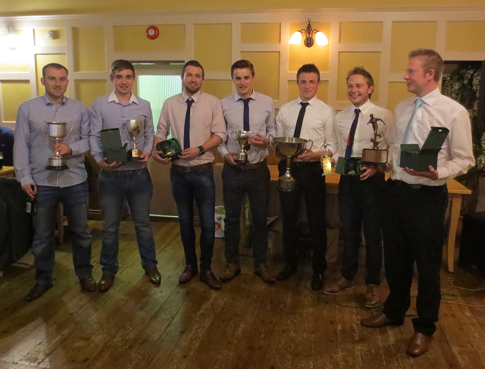 BUFC Award winners Gareth Bingham, Graeme McMullan, Ian McMullan, Greg Allison, Ethan Majury, Stuart McMullan and Alan Massey at the clubs Annual Dinner