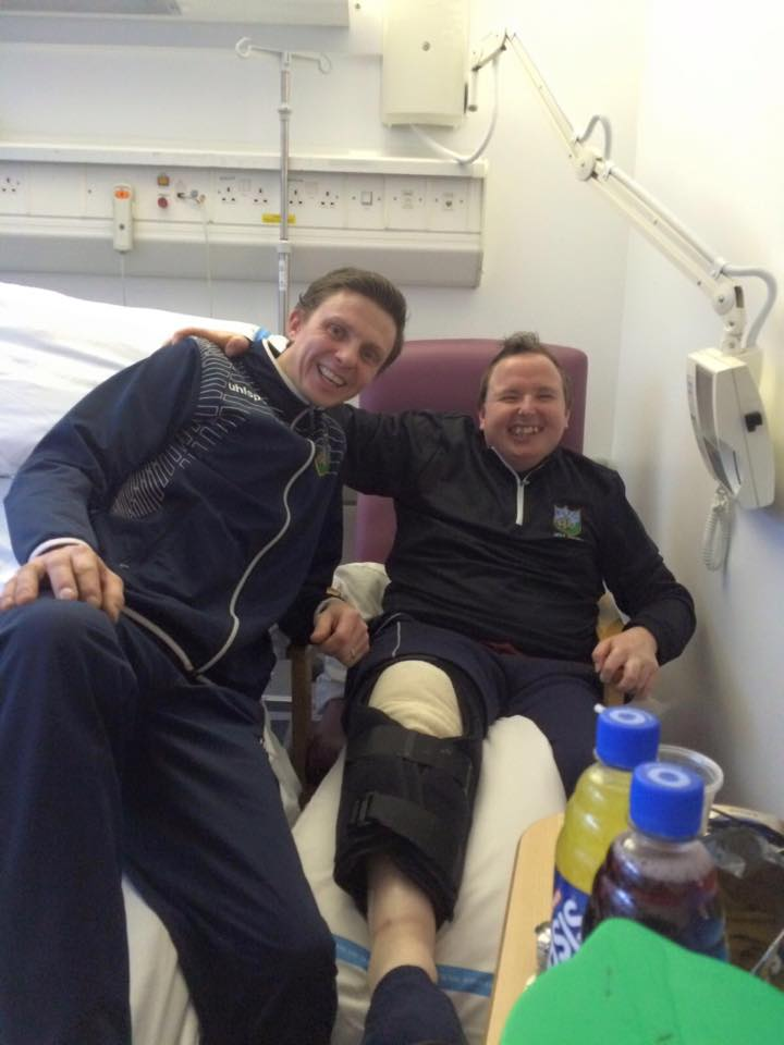 Club Captain Scott Brashaw pictured visiting BUFC supporter Robert Creighton during his recent hospitalisation