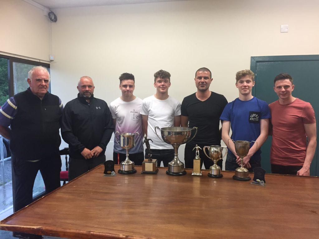 Club Officials pictured with Award winners l-r Davy Teggarty, Alan Davis, Ross Murray,Jack Davis, Ross Hayes, Alex Burtney & Scott Brashaw