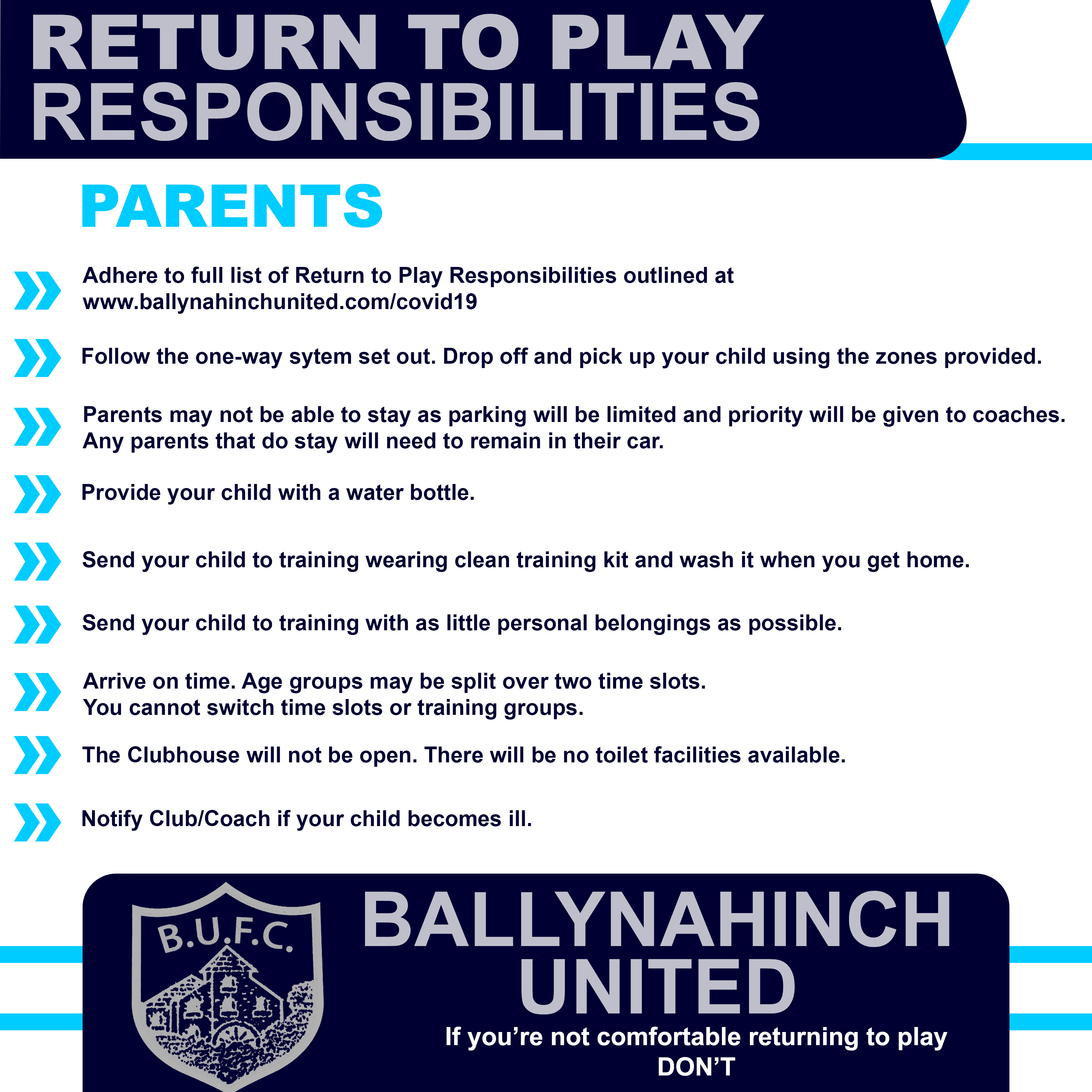 Return to Play Responsibilities for Parents